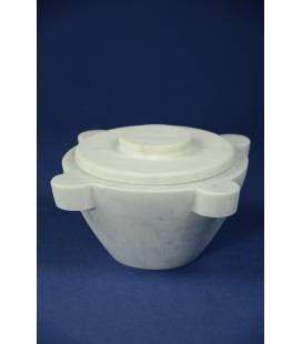 Coperchio marmo bianco Carrara per mortaio diametro 18 cm