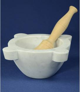 White Carrara marble mortar diameter 22 cm with beechwood pestle