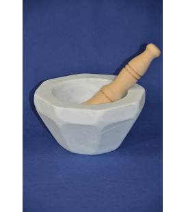 "white carrara marble mortar ""rustico"" with wood pestle"