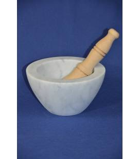 "White Carrara marble mortar ""bowl"" diameter 19 cm with wood pestle"