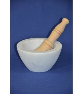 "White Carrara marble mortar ""bowl"" Ø 17 cm with wood pestle"