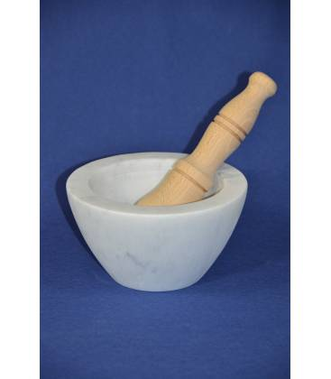 "White Carrara marble mortar ""bowl"" Ø 17 cm with wood pestle"