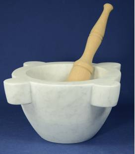White Carrara marble mortar diameter 30 cm with beechwood pestle