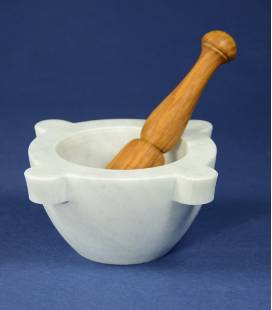 White Carrara marble mortar diameter 16 cm with olivewood pestle