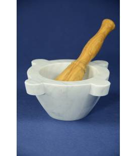 White Carrara marble mortar diameter 18 cm with olivewood pestle