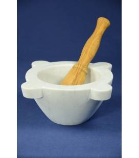 White Carrara marble mortar diameter 20 cm with olivewood pestle