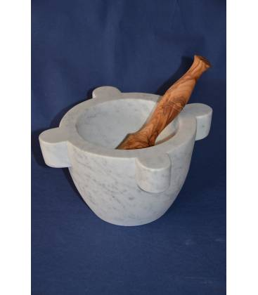 "White Carrara marble mortar ""marsigliese"" diameter 22 cm with beechwood pestle"