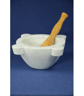 White Carrara marble mortar diameter 22 cm with olivewood pestle