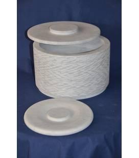 Vaso per acciughe sotto sale in marmo bianco di Carrara
