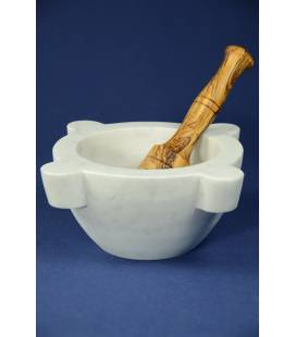 White Carrara marble mortar diameter 24 cm with olivewood pestle