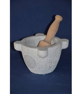 "White Carrara marble mortar marsigliese ""subbiato""diameter 22 cm with beechwood pestle"