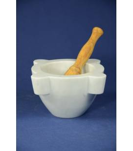 "white Carrara marble mortar ""extra""diameter 20 cm and olivewood pestle"