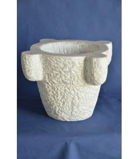 "White Carrara marble mortar diameter 35 cm ""subbiato"""