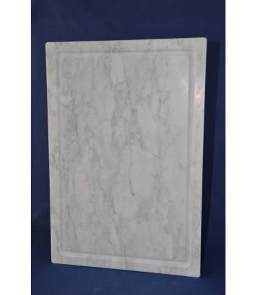 Tagliere 60x40 cm in marmo bianco di Carrara con piedini