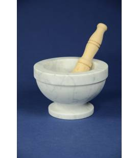 White Carrara marble mortar Bergamasco diameter 18 cm with beechwood pestle