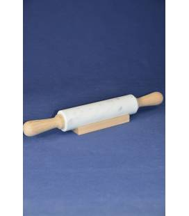 White Carrara marble rolling pin with wooden handle