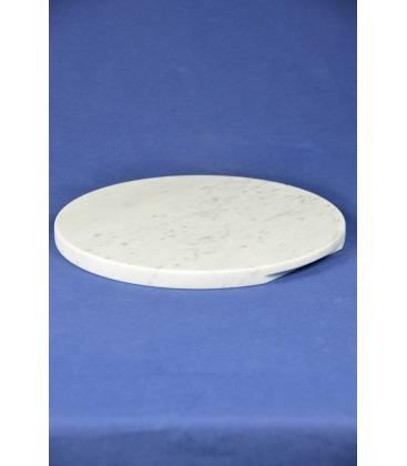 Piano tondo per formaggio marmo bianco di Carrara diametro 24 cm