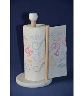 White Carrara marble kitchen roll holder